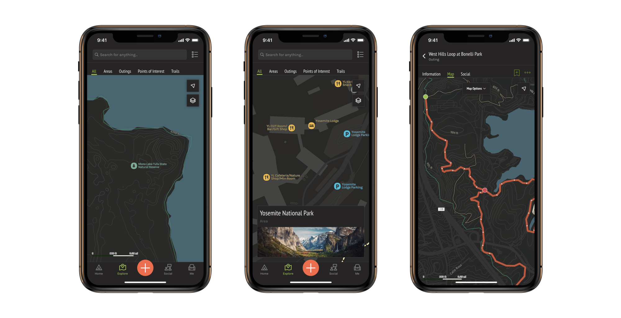 Screenshots of dark mode in OuterSpatial iOS.